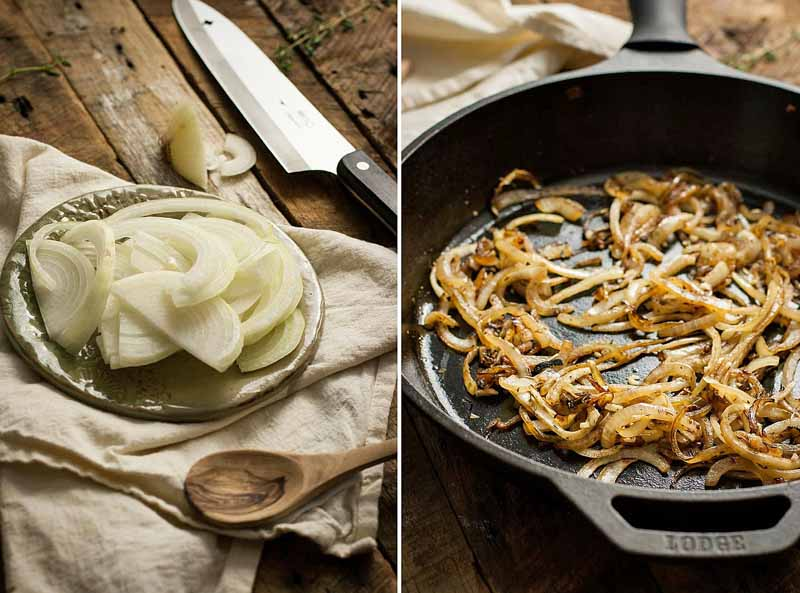A collage of two different photos showing fresh sliced white onions and the second showing onions being fried in a cast iron skillet.