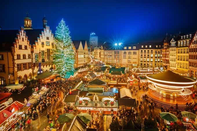 A Christmas Market in Frankfurt, Germany