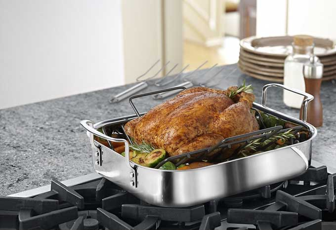 Calphalon Tri-Ply Stainless Steel 14-Inch Roaster | Foodal.com