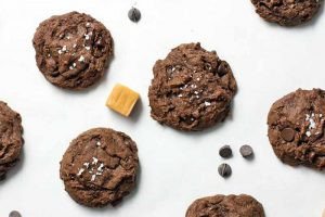 Vegan Caramel-Stuffed Double Chocolate Cookies