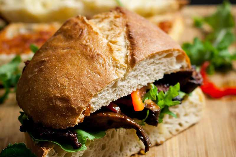 Horizontal close-up image of a vegetarian sandwich on a wooden surface.
