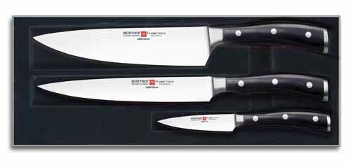 wusthof classic ikon 3 piece kitchen knife set black - German Kitchen Knives
