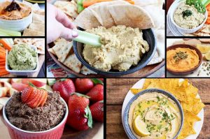 A collage of photos showing different types and flavors of gourmet hummus.