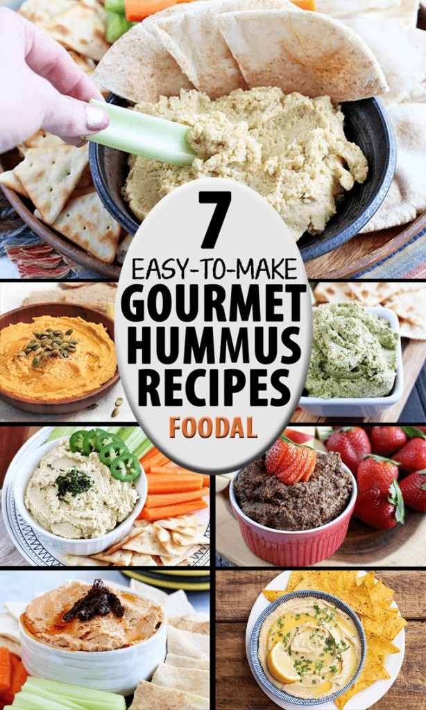 A collage of photos featuring different flavors and types of homemade gourmet hummus.