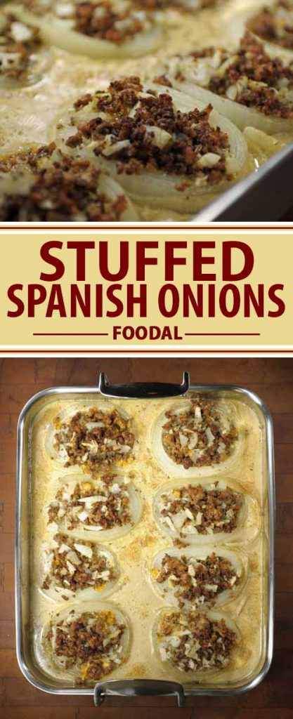 A collage of photos a showing different views a Spanish onions stuffed with ground beef and pork and covered in a cream sauce.