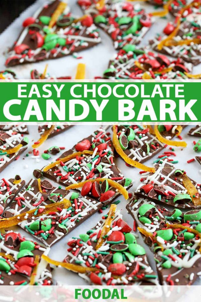 Vertical closeup of pieces of homemade chocolate bark, decorated with a drizzle of white chocolate, red and green candy, and sprinkles, on a white background, printed with green and white text.