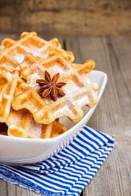 Homemade Belgium waffles flavored with star anise | Foodal.com