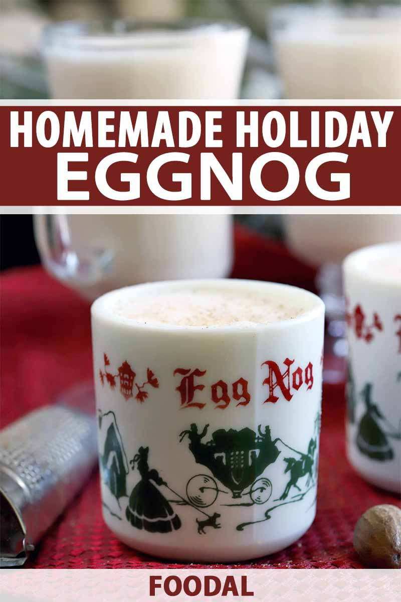 Vertical image of two decorative holiday mugs filled with eggnog in the foreground, beside a whole nutmeg and a metal grater on a red terrycloth kitchen towel, with two glass mugs of the drink in the background, printed with burgundy and red text.