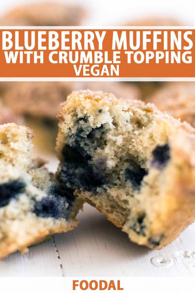 Vertical closely cropped closeup of a muffin torn in half to show the blueberries and crumb inside, with more in soft focus in the background, printed with orange and white text.