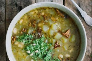 Potato and Chanterelle Soup with Fresh Arugula Pesto (Vegan)