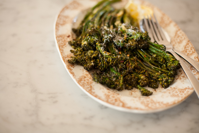 Lemon Roasted Baby Broccoli with Chili and Dill