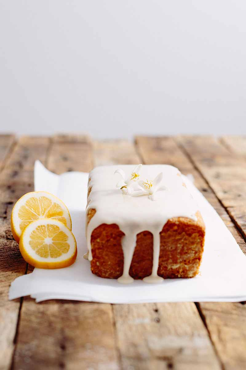 An entire vegan lemon pound cake with a lemon glaze on rustic wooden table top.