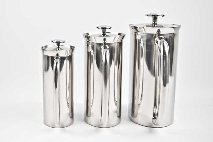 The three different sizes of the Espro Press