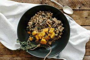 Farro Risotto with Butternut, Mushrooms & Kale (Vegan)