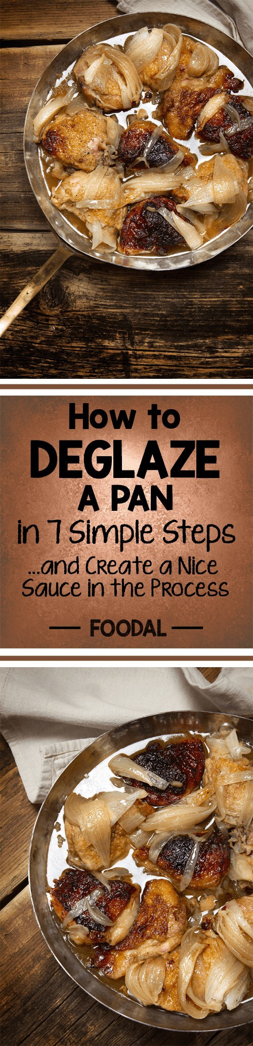 Deglazing is about using every bit of flavor left in the pan to add deliciousness to a dish. But what does it really involve? It's not a secret that's just for chefs! Click here and learn to make magic with just a few ingredients in your kitchen – and create sensational deglazed pan sauces with Foodal's quick and simple techniques. We'll teach you how to serve up a flavorful pan sauce in 3 minutes, from pan to table. https://foodal.com/knowledge/how-to/deglaze-a-pan/