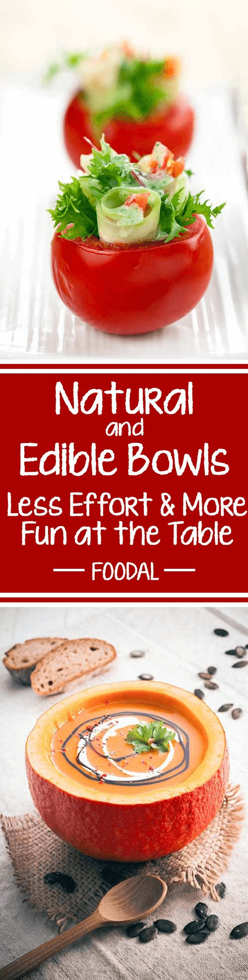 Do you love being creative in the kitchen? Are you also tired of doing dirty dishes – while beloved guests share in wonderful conversations you miss out on? Keep it simple, and use fruits, veggies, and more as edible bowls to serve salad, soups, desserts – you name it. Take a look at the best ideas for savory and sweet edible bowls here! https://foodal.com/knowledge/paleo/natural-edible-bowls/