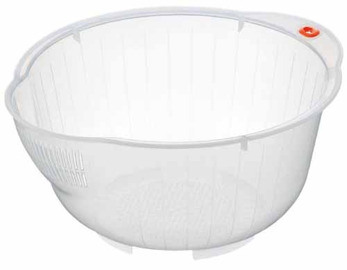 Inomata Japanese Rice Washing Bowl with Side and Bottom Drainers, White | Foodal.com