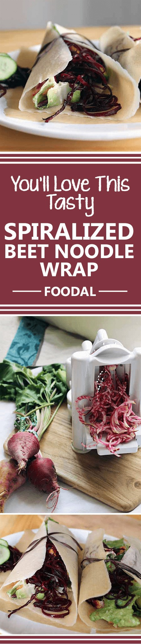 Looking for a new way to put your beets to good use? Maybe you're tired of the tried-and-true juicing and pickling routes. How about spiralizing them, and adding them to wraps? If you answered yes to all of the above, we have the perfect recipe for you. Not only is it super healthy, it also comes together quickly, requiring just a little cooking and chopping. https://foodal.com/knowledge/paleo/spiralized-beet-noodle-wrap/