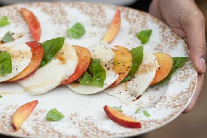 Peach Caprese Salad. Close up the layered salad on a white patterned plate.
