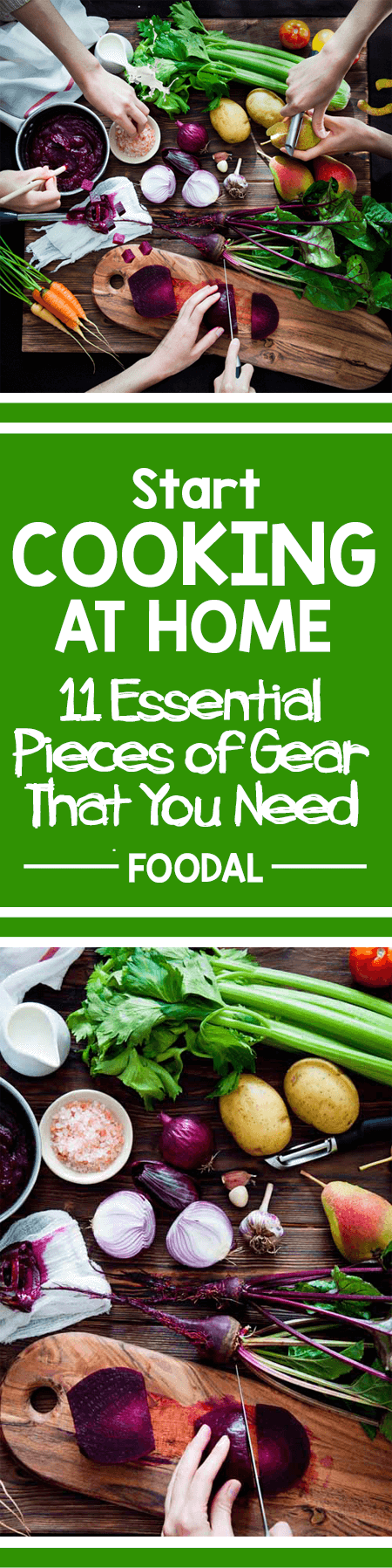 If you're looking to start cooking at home, here's a list of 11 essential pieces you'll need to get started – ones that'll make cooking easier and more fun! Buying a set of utensils and equipment to start with will help you to enjoy more success in the kitchen, and they don't have to be expensive. Later, as you gain experience (and as your budget allows), you can build on your starter set to suit your needs. http://foodal.com/kitchen/general-kitchenware/guides-general-kitchenware/essential-gear/
