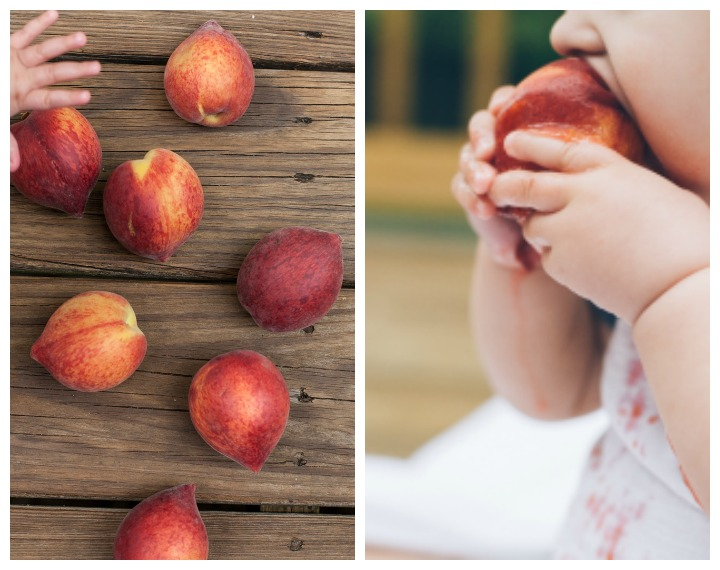 baby eating peaches
