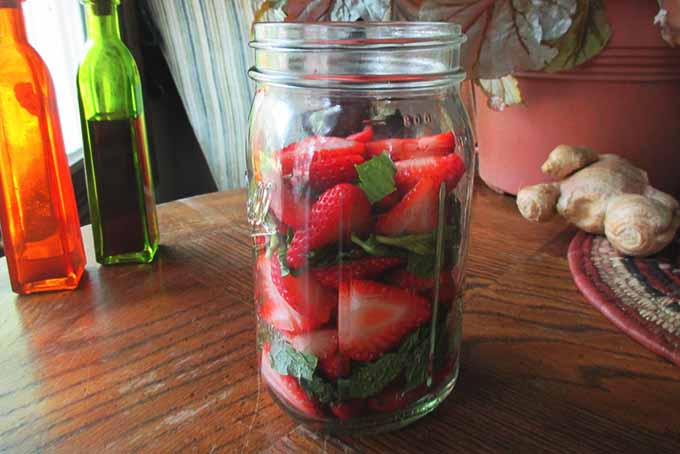Chopped Strawberries and Mint in Jar | Foodal.com