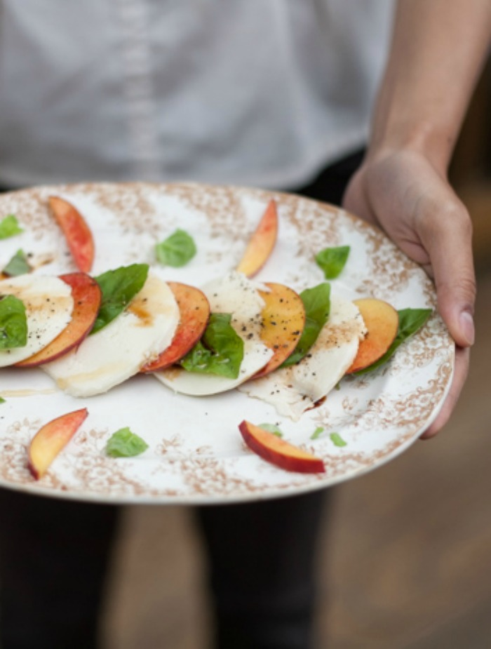 peach caprese salad with basil and balsamic