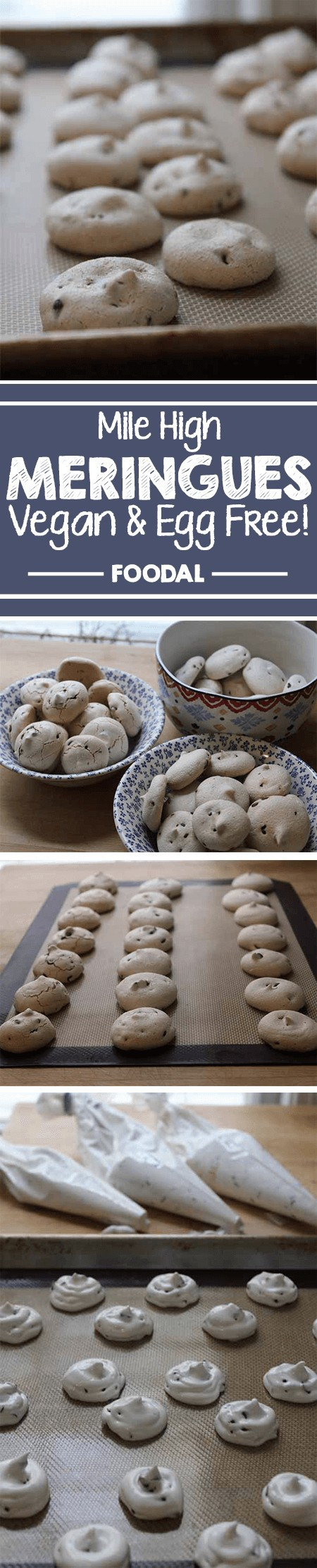 Meringues are not just for the egg lovers anymore! Thanks to aquafaba – the leftover cooking liquid from chickpeas – light and airy meringue cookies are possible without the use of egg whites. Follow our recipe for easy chocolate chip meringues that are a tasty treat at any time – especially for vegans or the food allergy prone! https://foodal.com/recipes/desserts/vegan-eggless-meringues/