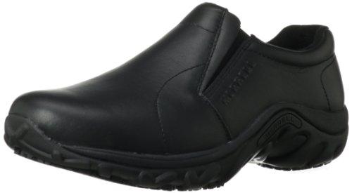 Merrell Men's Jungle Moc Pro Grip Slip-Resistant Work Shoe in Black | Foodal.com