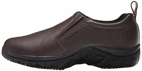 Merrell Men's Jungle Moc Pro Grip Slip-Resistant Work Shoe in Espresso | Foodal.com