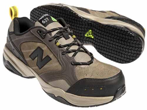 New Balance Men's MID627 Steel-Toe Work Shoe in Brown Suede | Foodal.com