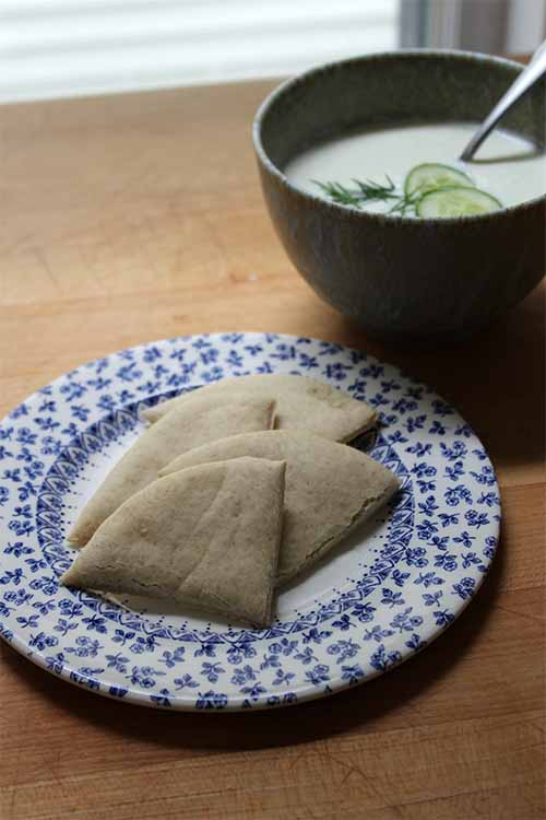 This pita pairs well with a bowl of chilled cucumber soup. Get the recipe on Foodal.