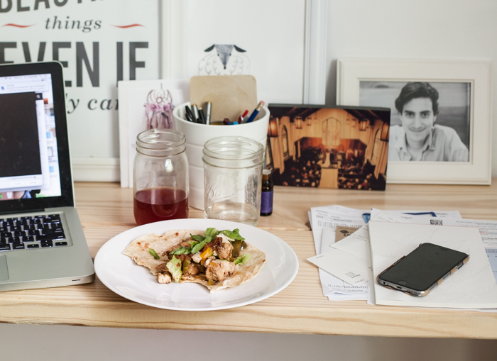 chicken fajitas eaten at your work desk