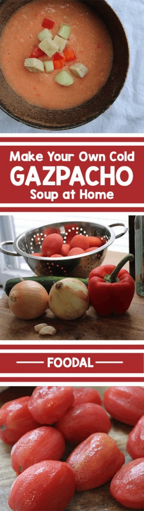 Gazpacho: It's like a whole garden blended into a single bite. While many takes on this chilled soup exist, we prefer the classic red variety. Fresh tomatoes, cucumbers, onions, and red peppers are combined for a dish bursting with vibrant flavors. Day-old bread adds extra body, and helps eliminate kitchen waste! Give it a try today. https://foodal.com/recipes/soups/traditional-gazpacho/