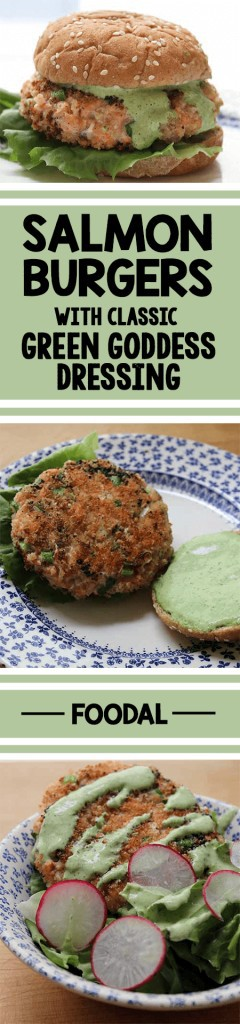 This delicious dish is fun and healthy, and full of vitamins and omega 3. The Green Goddess dressing compliments the Salmon Burger perfectly. It's also a lot easier to make than you would think. I know I always say that, but it is! Get the recipe now. https://foodal.com/recipes/fish-and-seafood/green-goddess-salmon-burgers/