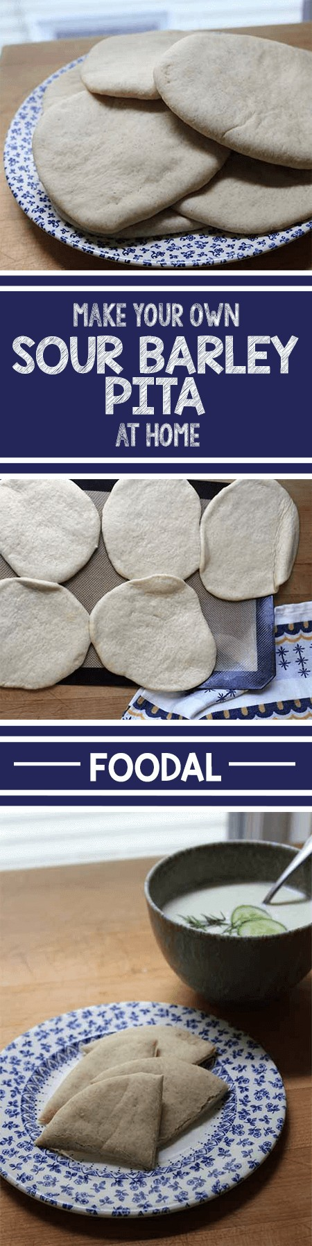 Make your own fresh pita in your own home oven. This simple recipe, made with a combination of wheat and barley flours, is soft and full of flavor. Eat it on its own, use it as a wrap for sandwiches, or even as the crust for homemade mini pizzas. It's a great recipe for novice bakers, and this post offers a helpful introduction to several baking techniques. https://foodal.com/recipes/breads/sour-barley-pita/