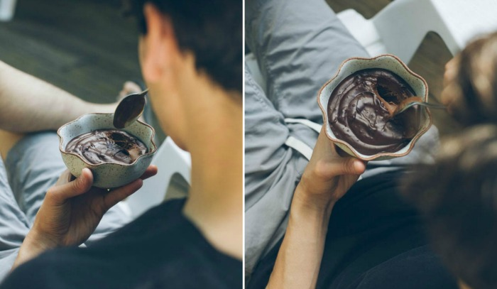 eating chocolate pudding at home