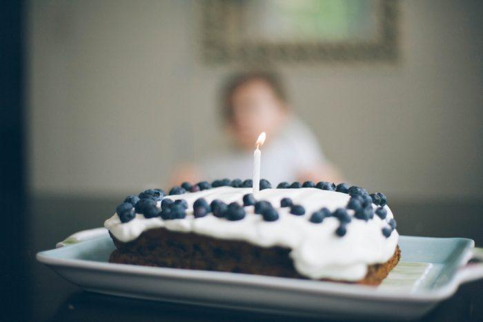 blueberry first birthday cake