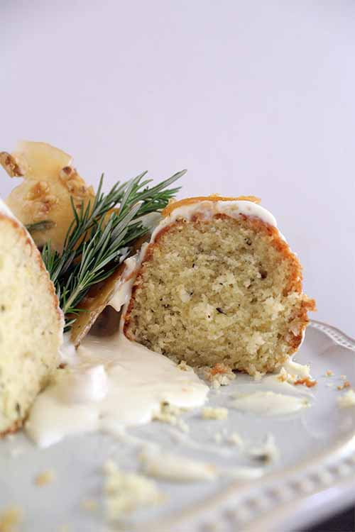 Delight your guests with this fresh twist on a traditional lemon bundt cake, made with fresh rosemary simple syrup and tangy goat cheese frosting: https://foodal.com/recipes/desserts/rosemary-lemon-bundt-cake/
