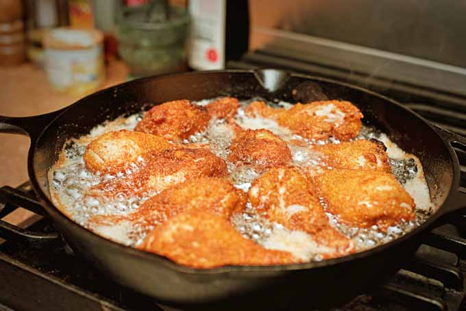 Frying chicken in a cast iron skillet