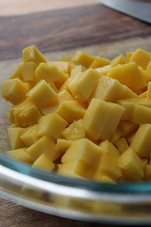 Fresh diced mango for salsa: http://foodal.com/recipes/mexican-latin-america/spicy-mango-salsa/