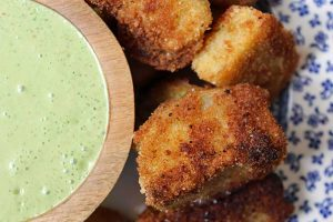 Fried Kohlrabi with Cilantro Yogurt Sauce