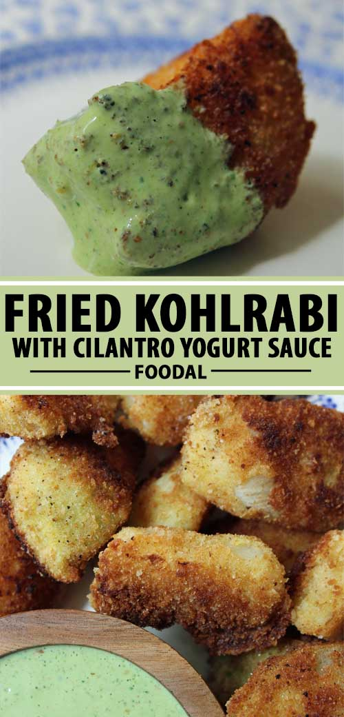A collage of photos showing different views fried kohlrabi with cilantro yogurt sauce.