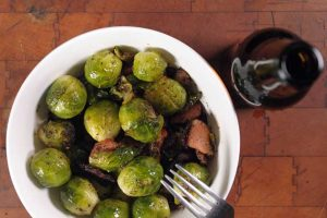 Organic Brussels Sprouts Sautéed with Bacon, Fennel Seed and Dill