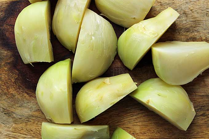 Kohlrabi sliced into chunks | Foodal.com