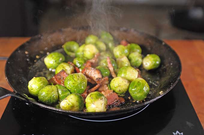 Step 4 Bacon and Brussels Sprouts - Adding the Brussel Sprouts | Foodal.com