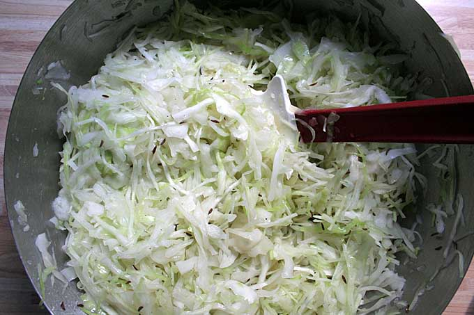 Step 6 of the Bavarian Cabbage Salad Recipe - Adding the spices | Foodal.com