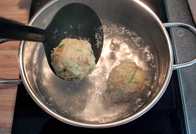 Step Four (4b) German Bread Dumplings - Boil the Dumplings | Foodal.com