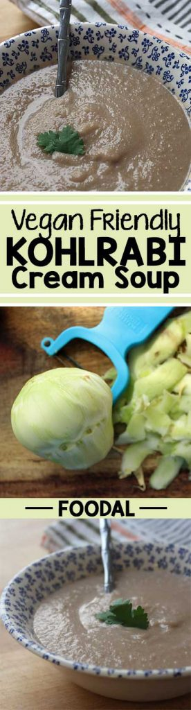 This vegan cream of kohlrabi soup has it all – it's smooth, creamy, and full of sweet caramelized onions and garlic. In just over an hour, you can make this delicious, flavor-packed soup at home. Serve it with a side of bread and salad, and you've got a hearty vegan meal that will please a crowd. Read more on Foodal. https://foodal.com/recipes/soups/vegan-kohlrabi-soup/