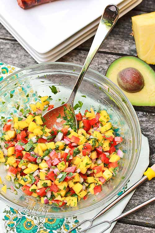 Fresh fruits and vegetables are diced and blended to make delicious fresh salsas. We share the recipes, from some of our favorite bloggers: https://foodal.com/recipes/sauces/favorite-salsa-recipes/